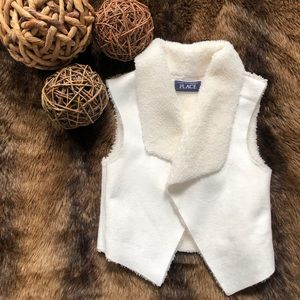 The Children's Place, white faux fur vest